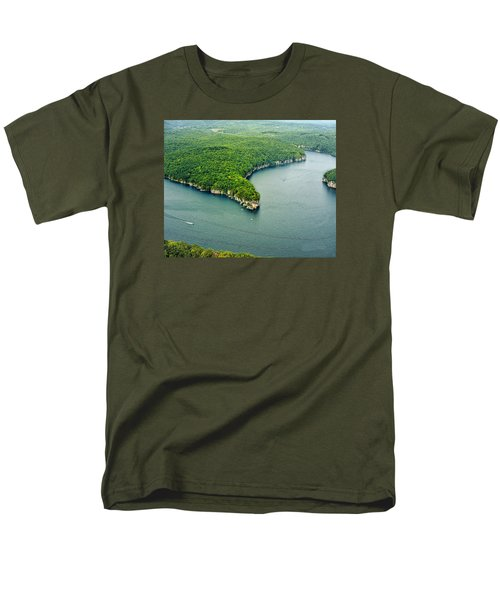 Aerial Image Of  Long Point Cliff Men's T-Shirt  (Regular Fit) by Mark Allen