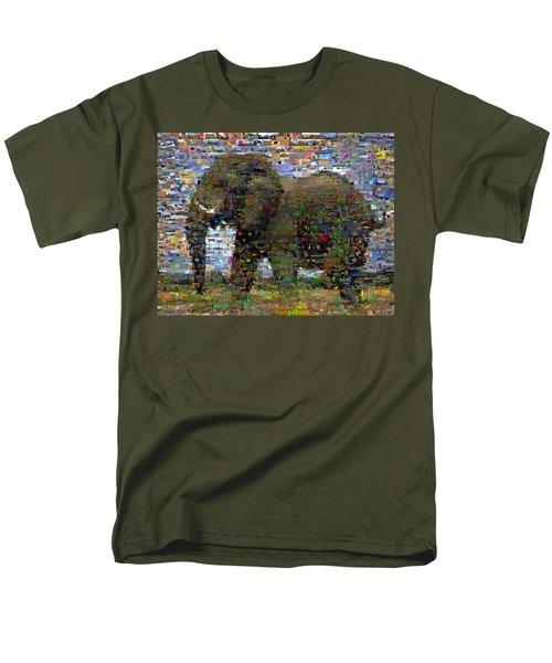 Men's T-Shirt  (Regular Fit) featuring the mixed media African Elephant Wild Animal Mosaic by Paul Van Scott