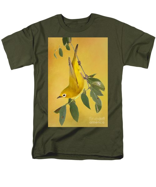 Men's T-Shirt  (Regular Fit) featuring the photograph African Yellow White-eye by Myrna Bradshaw