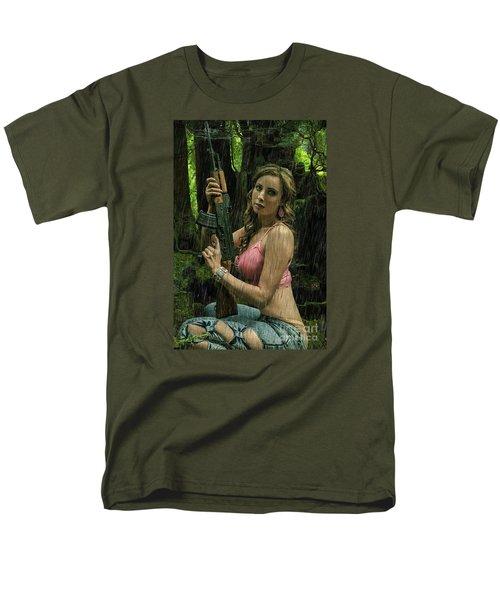 Ak47 In The Rain Men's T-Shirt  (Regular Fit) by David Bazabal Studios