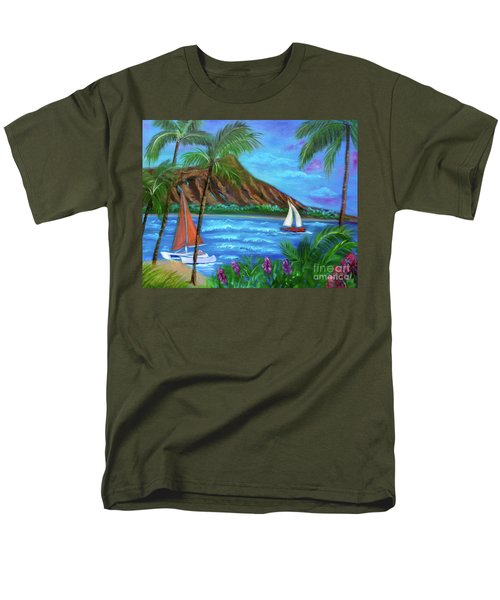 Aloha Diamond Head Men's T-Shirt  (Regular Fit) by Jenny Lee