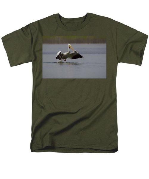 American White Pelican Da Men's T-Shirt  (Regular Fit) by Ernie Echols