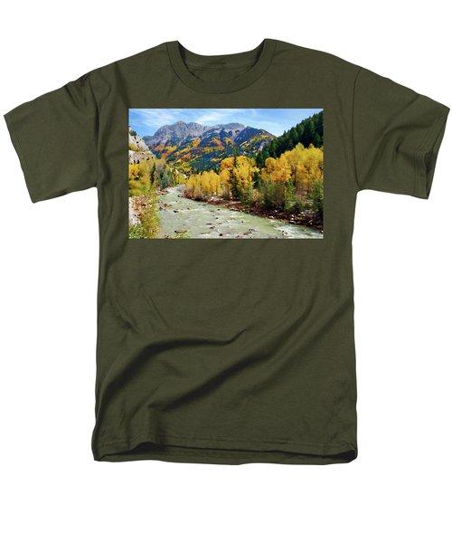 Men's T-Shirt  (Regular Fit) featuring the photograph Animas River San Juan Mtns, Co, Panorama by Kurt Van Wagner