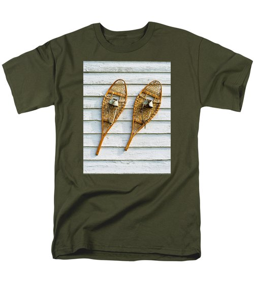 Men's T-Shirt  (Regular Fit) featuring the photograph Antique Snowshoes On The Wall by Gary Slawsky