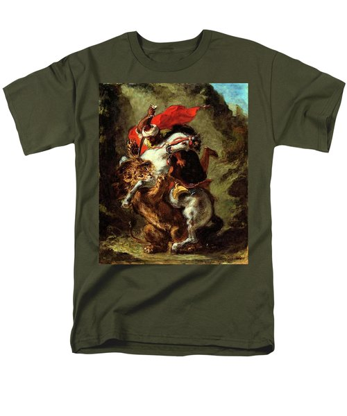 Men's T-Shirt  (Regular Fit) featuring the painting Arab Horseman Attacked By A Lion by Eugene Delacroix