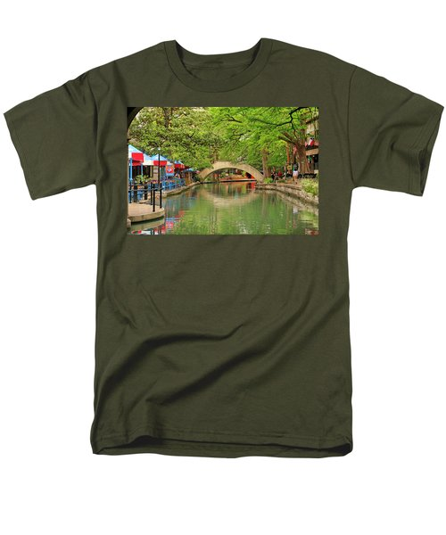 Men's T-Shirt  (Regular Fit) featuring the photograph Arched Bridge Reflection - San Antonio by Art Block Collections