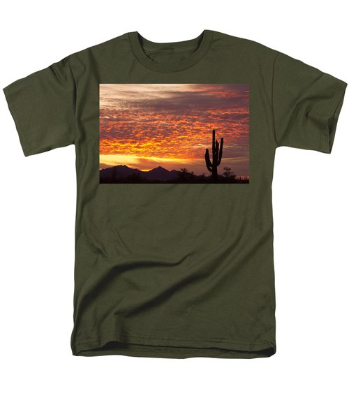 Arizona November Sunrise With Saguaro   Men's T-Shirt  (Regular Fit) by James BO  Insogna
