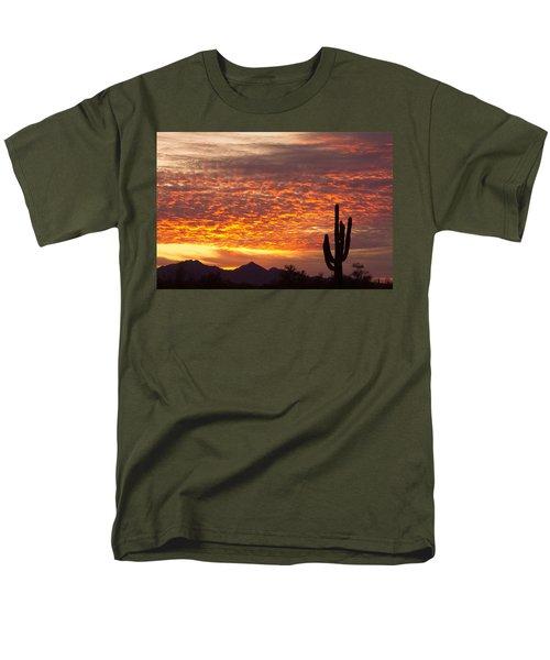 Arizona November Sunrise With Saguaro   Men's T-Shirt  (Regular Fit)