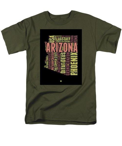 Arizona Word Cloud Map 1 Men's T-Shirt  (Regular Fit) by Naxart Studio
