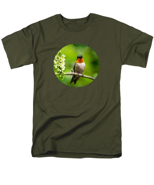 Male Ruby-throated Hummingbird With Showy Gorget Men's T-Shirt  (Regular Fit) by Christina Rollo