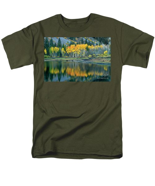 Aspens In Fall Color Along Lundy Lake Eastern Sierras California Men's T-Shirt  (Regular Fit) by Dave Welling