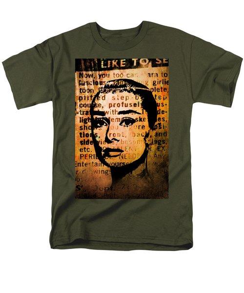 Men's T-Shirt  (Regular Fit) featuring the mixed media Audrey Hepburn #4 by Kim Gauge