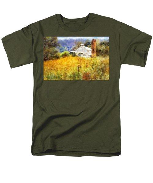 Men's T-Shirt  (Regular Fit) featuring the digital art Autumn Barn In The Morning by Francesa Miller