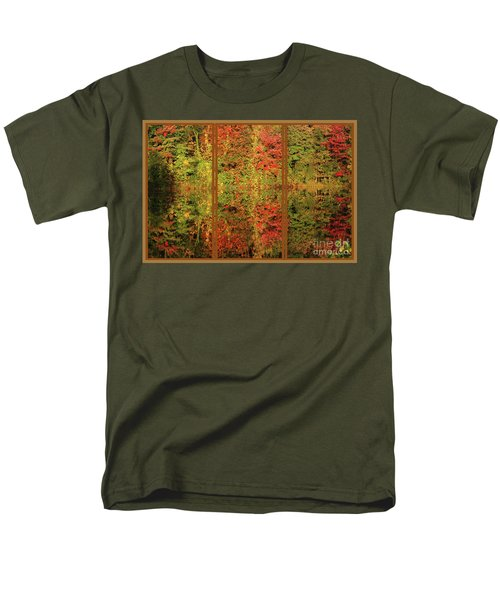 Men's T-Shirt  (Regular Fit) featuring the photograph Autumn Reflections In A Window by Smilin Eyes  Treasures