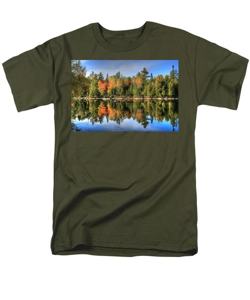 Men's T-Shirt  (Regular Fit) featuring the photograph Autumn Reflections Of Maine by Shelley Neff