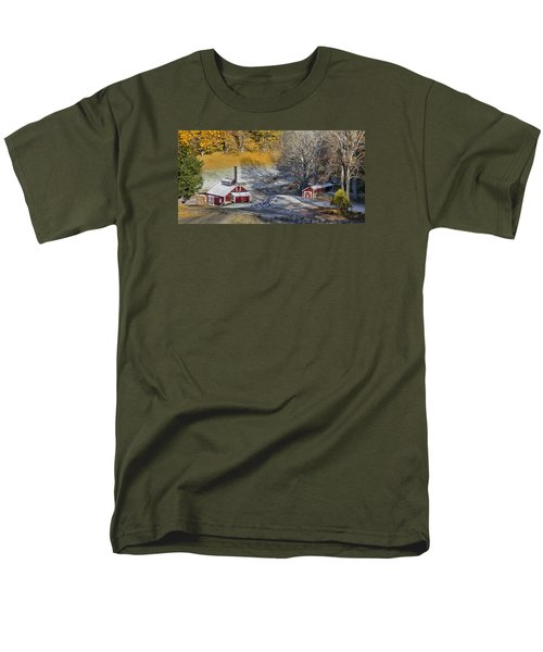 Men's T-Shirt  (Regular Fit) featuring the photograph Autumn Snow On Sugar Shack, Reading, Vt by Betty Denise