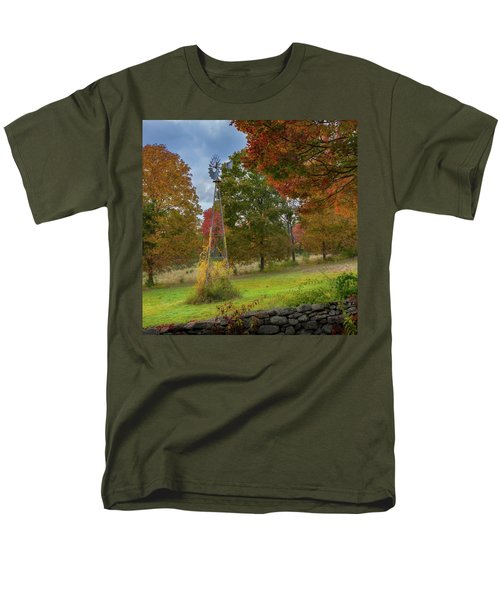 Men's T-Shirt  (Regular Fit) featuring the photograph Autumn Windmill Square by Bill Wakeley