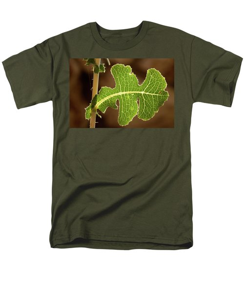 Men's T-Shirt  (Regular Fit) featuring the photograph Back Side Light On A Leaf At Sunset by Yoel Koskas