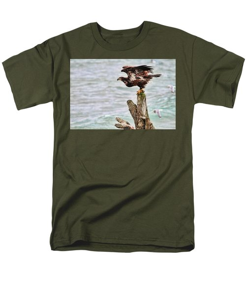 Bald Eagle On Driftwood At The Beach Men's T-Shirt  (Regular Fit) by Peggy Collins