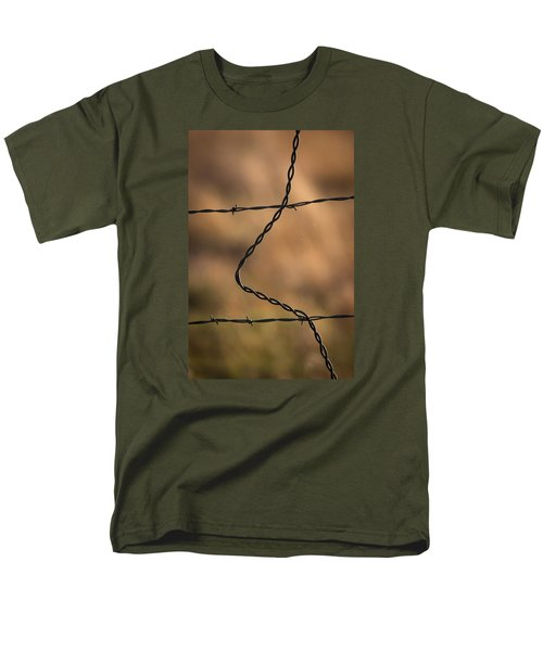 Men's T-Shirt  (Regular Fit) featuring the photograph Barbed And Bent Fence by Monte Stevens
