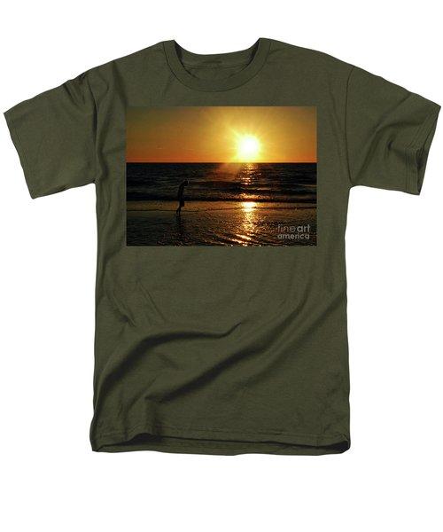 Men's T-Shirt  (Regular Fit) featuring the photograph Beach Walking by Gary Wonning