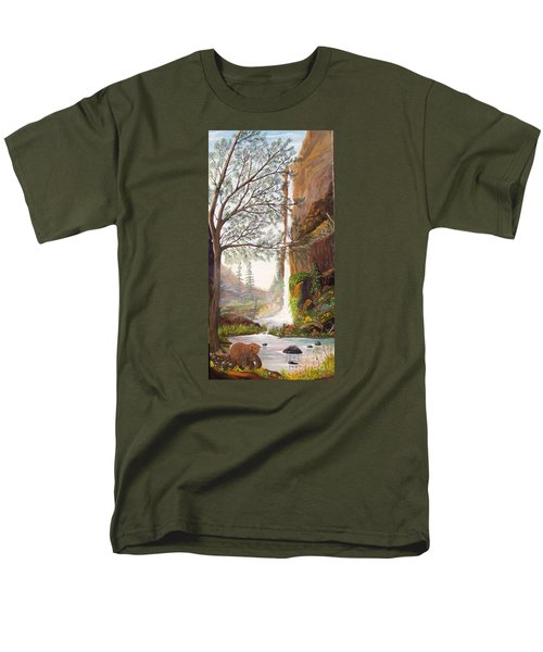 Men's T-Shirt  (Regular Fit) featuring the painting Bears At Waterfall by Myrna Walsh