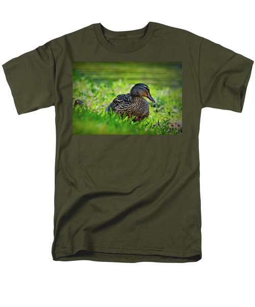 Men's T-Shirt  (Regular Fit) featuring the photograph Beautiful Mama Duck by Linda Unger