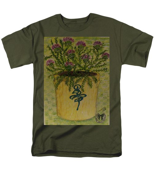 Men's T-Shirt  (Regular Fit) featuring the painting Bee Sting Crock With Good Luck Horseshoe by Kathy Marrs Chandler