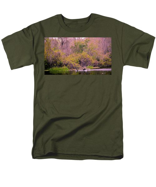 Men's T-Shirt  (Regular Fit) featuring the photograph Birds Playing In The Pond 2 by Madeline Ellis