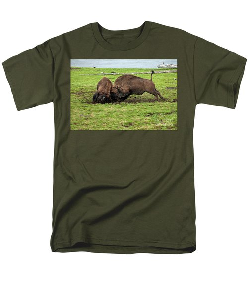 Bison Fighting Men's T-Shirt  (Regular Fit) by Cindy Murphy - NightVisions