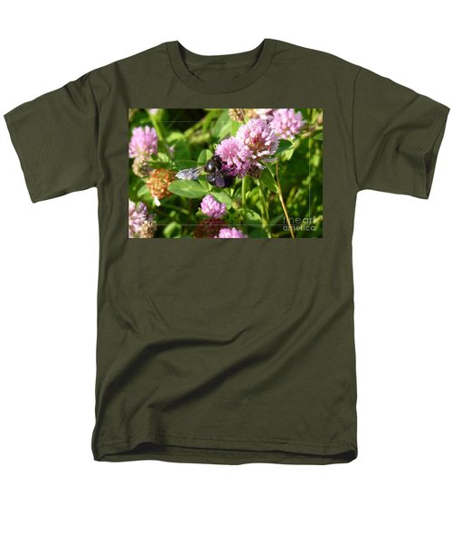 Black Bee On Small Purple Flower Men's T-Shirt  (Regular Fit) by Jean Bernard Roussilhe