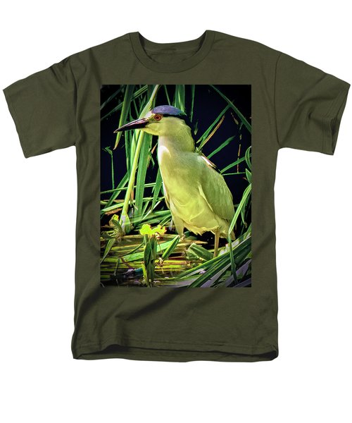 Men's T-Shirt  (Regular Fit) featuring the photograph Black Crowned Night Heron by Joseph Hollingsworth