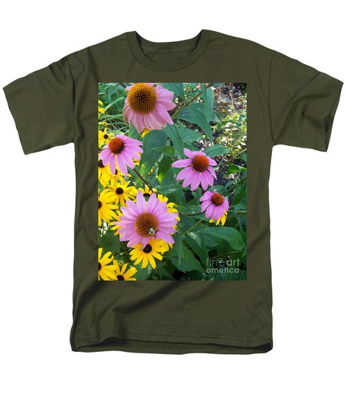 Black Eye Susans And Echinacea Men's T-Shirt  (Regular Fit) by Eric  Schiabor
