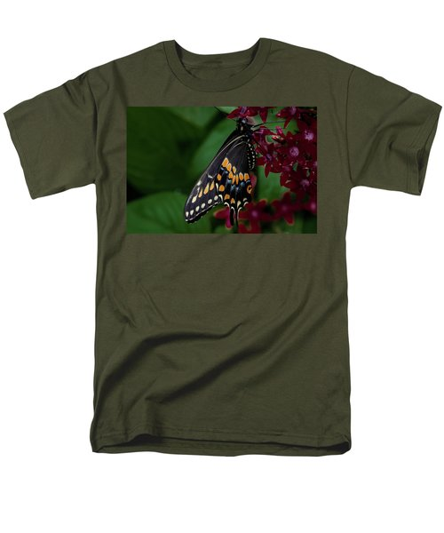 Men's T-Shirt  (Regular Fit) featuring the photograph Black Swallowtail Butterfly by Jay Stockhaus
