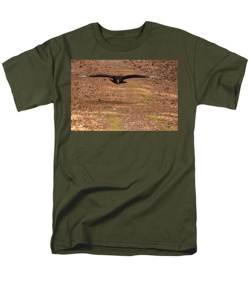 Men's T-Shirt  (Regular Fit) featuring the digital art Black Vulture In Flight by Chris Flees