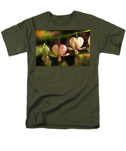 Men's T-Shirt  (Regular Fit) featuring the painting Bleeding Hearts In My Secret Garden by Peggy Collins