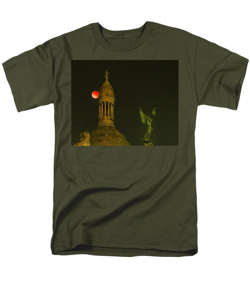 Men's T-Shirt  (Regular Fit) featuring the photograph Blood Moon Eclipse At Sacre Coeur Paris  2015 by Sally Ross
