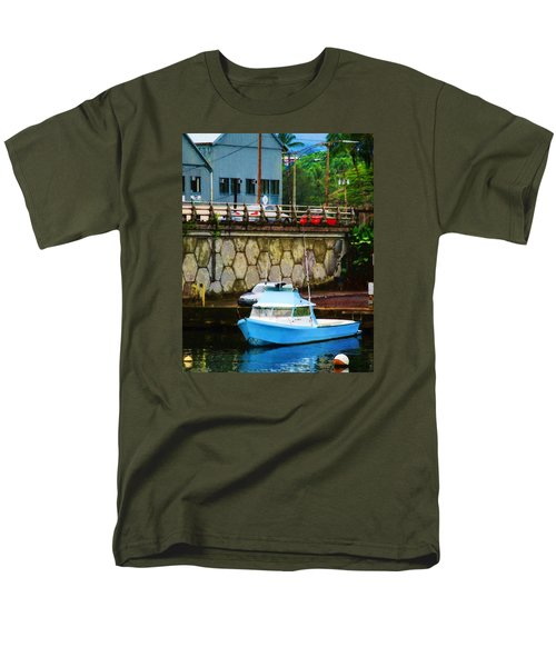 Blue Boat By The Mamalahoa Highway Men's T-Shirt  (Regular Fit) by Timothy Bulone