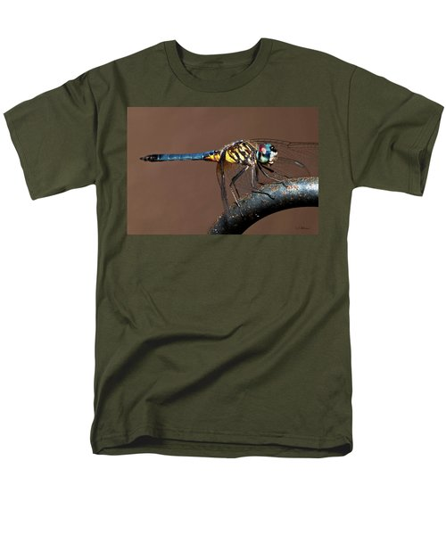 Blue And Gold Dragonfly Men's T-Shirt  (Regular Fit) by Christopher Holmes