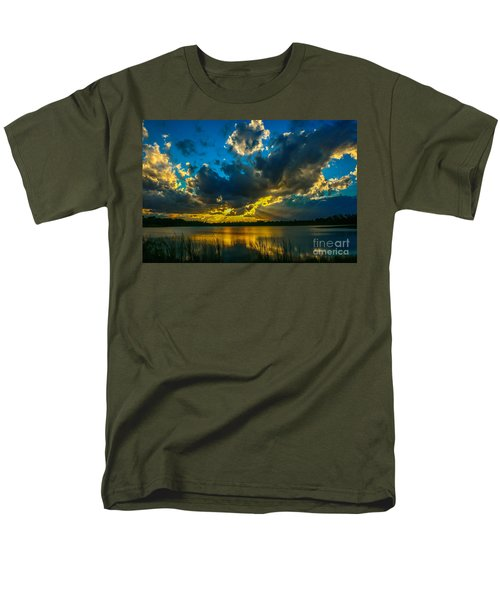 Blue And Gold Sunset With Rays Men's T-Shirt  (Regular Fit) by Tom Claud