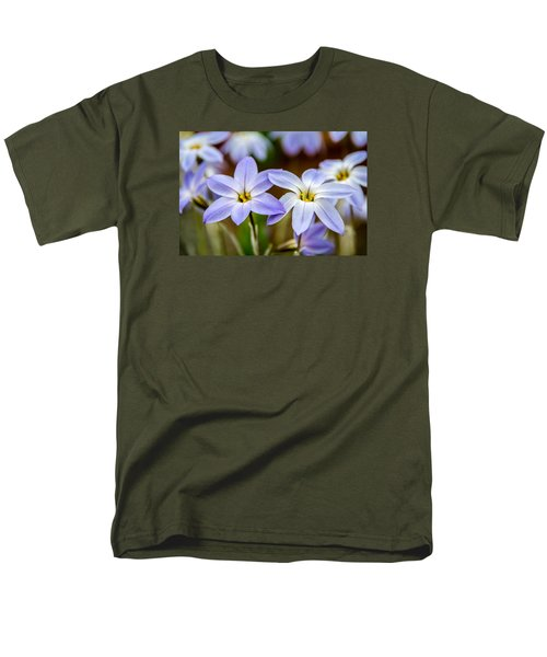Blue And White Flowers  Men's T-Shirt  (Regular Fit) by Martina Fagan