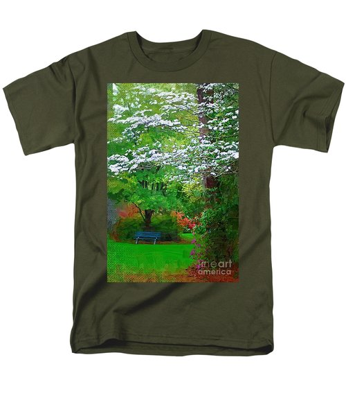 Men's T-Shirt  (Regular Fit) featuring the photograph Blue Bench In Park by Donna Bentley