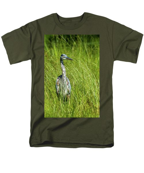 Men's T-Shirt  (Regular Fit) featuring the photograph Blue Heron In A Marsh by Paul Freidlund