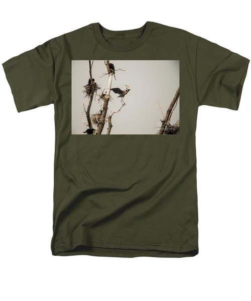 Men's T-Shirt  (Regular Fit) featuring the photograph Blue Heron Posing by David Bearden