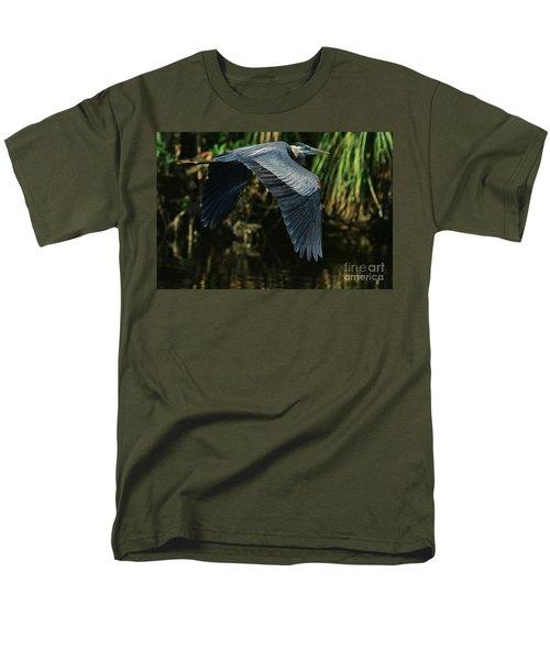 Men's T-Shirt  (Regular Fit) featuring the photograph Blue Heron Series The Pond by Deborah Benoit