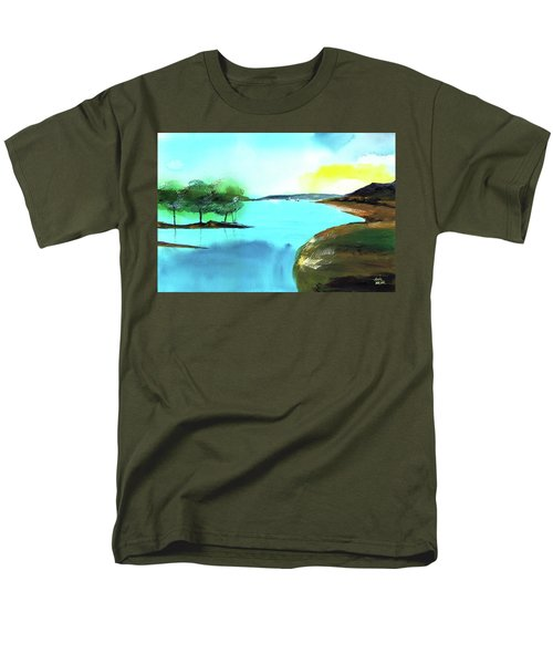 Men's T-Shirt  (Regular Fit) featuring the painting Blue Lake by Anil Nene