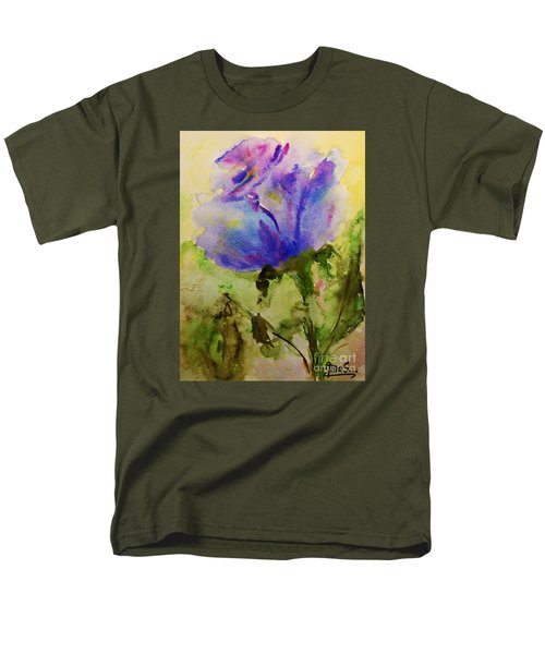 Men's T-Shirt  (Regular Fit) featuring the painting Blue Rose Watercolor by AmaS Art
