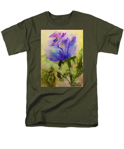 Blue Rose Watercolor Men's T-Shirt  (Regular Fit) by AmaS Art