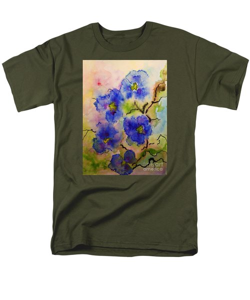 Blue Spring Flowers Watercolor Men's T-Shirt  (Regular Fit) by AmaS Art