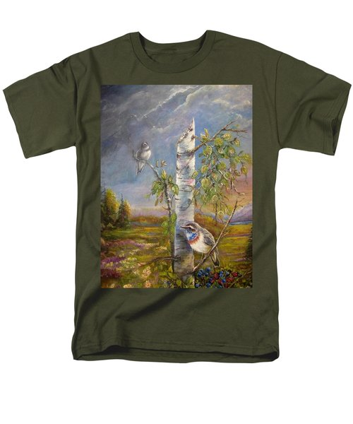 Bluethroat On The Tundra Men's T-Shirt  (Regular Fit) by Patricia Schneider Mitchell